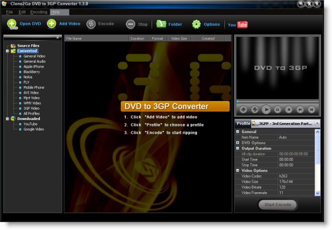 Convert DVD to 3GP, 3GP video converter, DVD video to 3GP