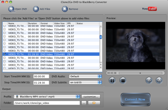Convert DVD to BlackBerry on Mac